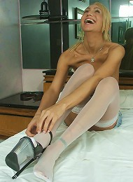 Guy and tgirl call a friend for a threesome