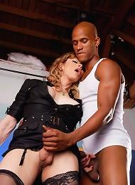TS teacher Jasmine Jewels blowing a huge black cock
