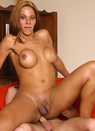 Sexy Ester loves to show off her amazing tits, her firm tranny ass and that thick meaty cock and her ability to take a big thick