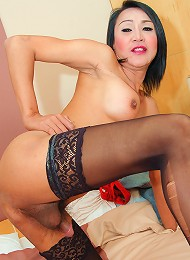 Asian ladyboy with huge tits gets fuck