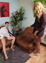 Office boy assfucking a leggy crossdresser