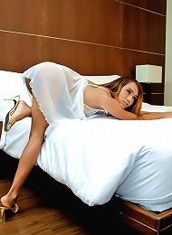 Smooth and sexy ladyboy Monika jerks off