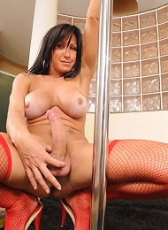 Naughty TS showing off her enormously huge dick