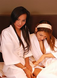 Horny ladyboys posing with robes