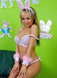 Gorgeous blonde bunny girl Celeste just loves flashing her little white tail!