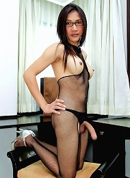 Sexy as fuck ladyboy wanking in stockings