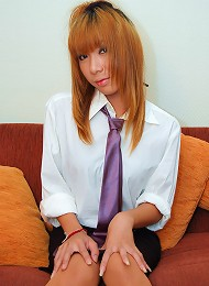 Dickgirl Merry hides cock under her school uniform
