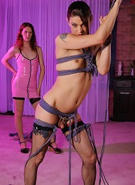 Filthy TS in naughty rough rope bondage
